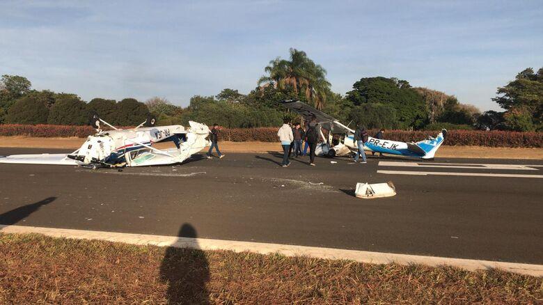 Dois aviões se chocam em aeroclube na região - Crédito: Redes Sociais