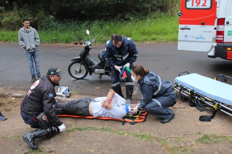 Colisão deixa motociclista ferido no Parque Santa Mônica - Crédito: Maycon Maximino