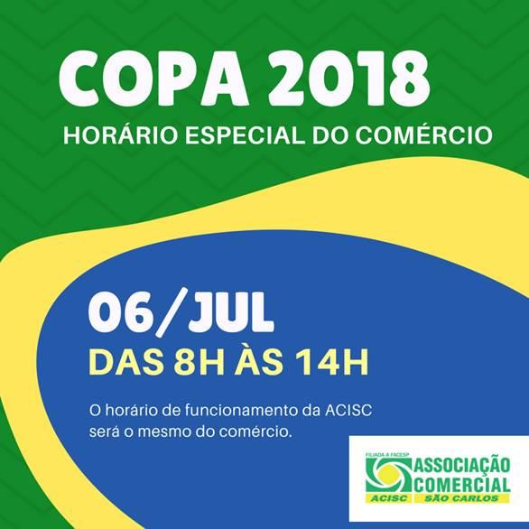 Acisc informa horário do comércio para os próximos jogos do Brasil na Copa -