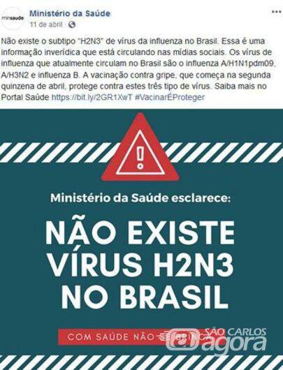 Post do Ministério da Saúde no Facebook em que desmente a existência do subtipo H2N3 do vírus influenza no Brasil - Crédito: Divulgação
