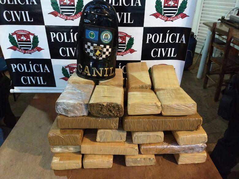 DISE, com apoio do Canil apreende drogas em caçamba de picape - Crédito: Luciano Lopes
