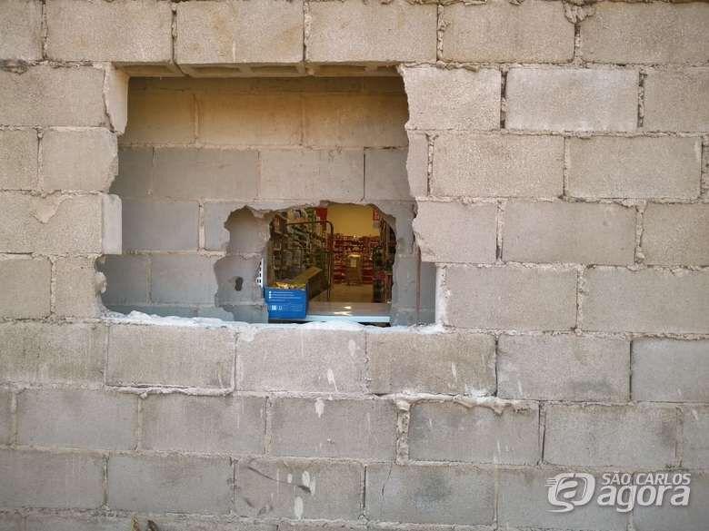 De novo: ladrão arromba parede do supermercado Dia e furta vários produtos - Crédito: Arquivo/SCA