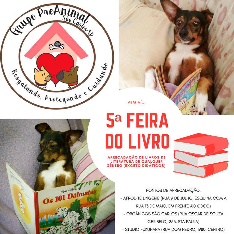 Grupo Pró-Animal promoverá 5ª Feira do Livro e busca doações -