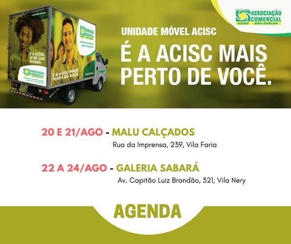 Agenda da Unidade Móvel da Acisc - 20 a 24 de agosto - Crédito: Divulgação