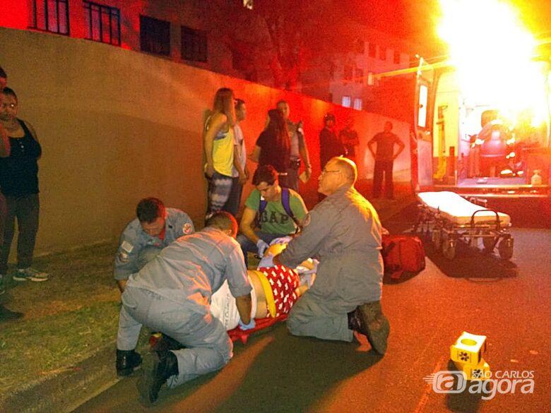 Pedestre é atropelada por moto no Jockey Clube - Crédito: Luciano Lopes