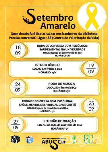 Biblioteca Comunitária da UFSCar sedia ações voltadas ao Setembro Amarelo -