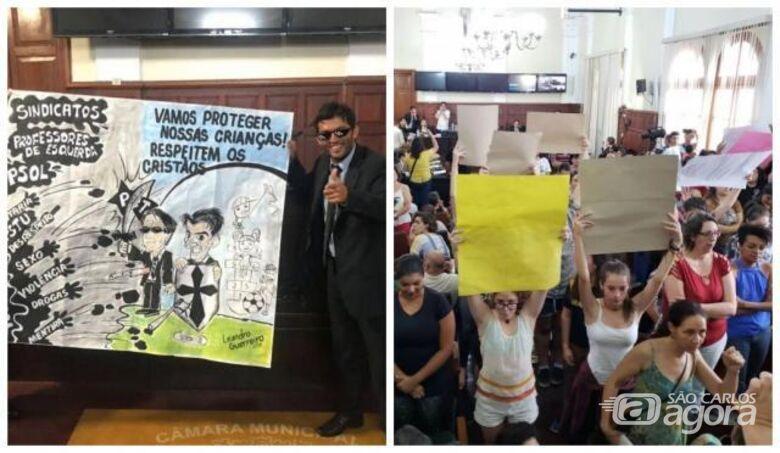 Professores e alunos vão à Câmara para repudiar ato de vereadores no Carmine Botta - Crédito: Abner Amiel/Folha São Carlos e Região