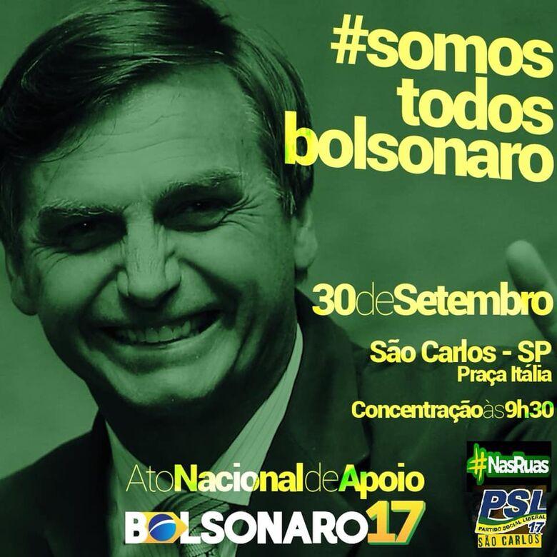 Apoiadores de Bolsonaro realizam carreata no domingo (30) em São Carlos - Crédito: Divulgação