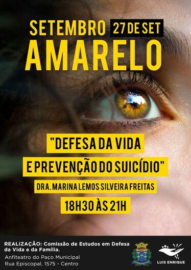 Comissão da Câmara promove palestra sobre Prevenção do Suicídio no Paço Municipal -