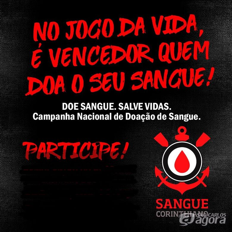 Sangue Corinthiano faz campanha de doação de sangue em São Carlos - Crédito: Divulgação