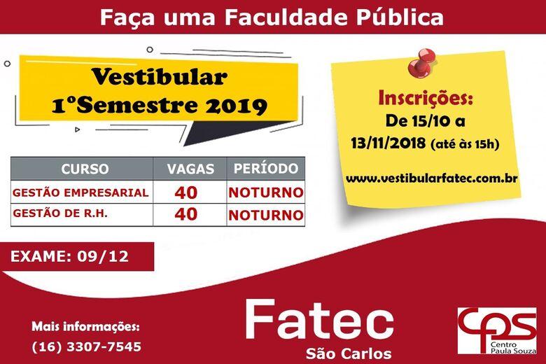 Fatec está com inscrições abertas para o vestibular do primeiro semestre/2019 -