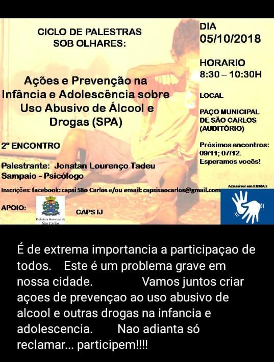 Prevenção ao uso de álcool e drogas é tema de palestra -