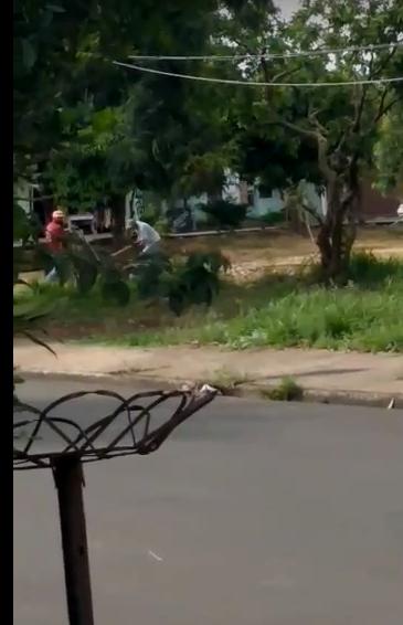 Dois homens são flagrados descartando entulho em terreno municipal - Crédito: Divulgação