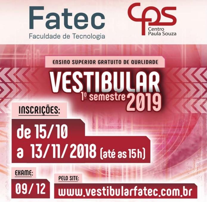 Fatec São Carlos abre inscrições para o vestibular do primeiro semestre/2019 -