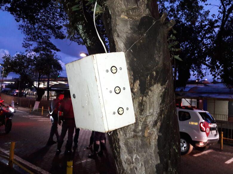 Homem sofre descarga elétrica ao encostar em quadro de força instalado em árvore - Crédito: Maycon Maximino