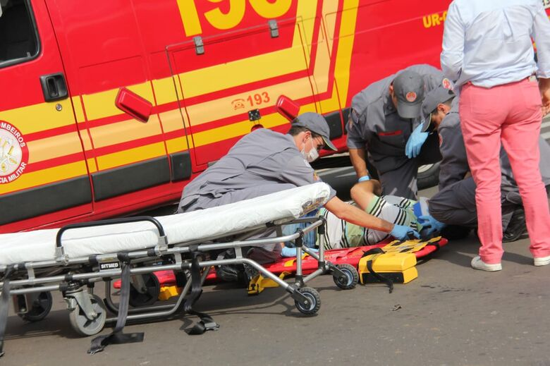Acidente no centro deixa um motociclista ferido - Crédito: Maycon Maximino