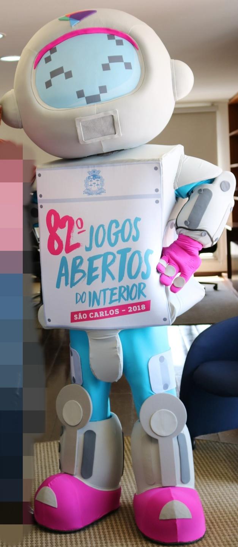 """""""Babi"""" é a robô mascote dos Jogos Abertos do Interior - Crédito: Divulgação"""