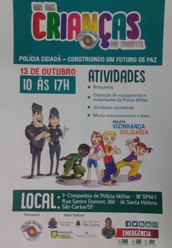 Polícia Militar prepara grande festa para as crianças no sábado -