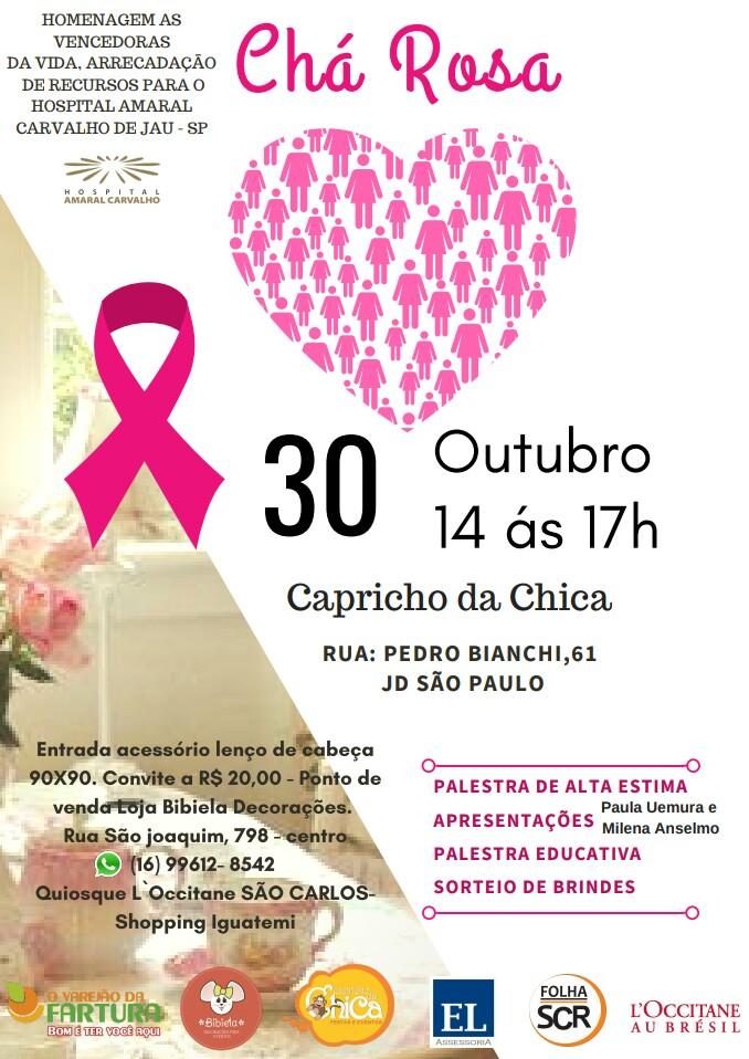 Chá Rosa será realizado no Capricho da Chica -