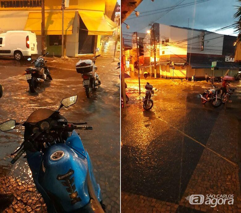 Chuva forte causa alagamentos em São Carlos - Crédito: Divulgação/Whatsapp