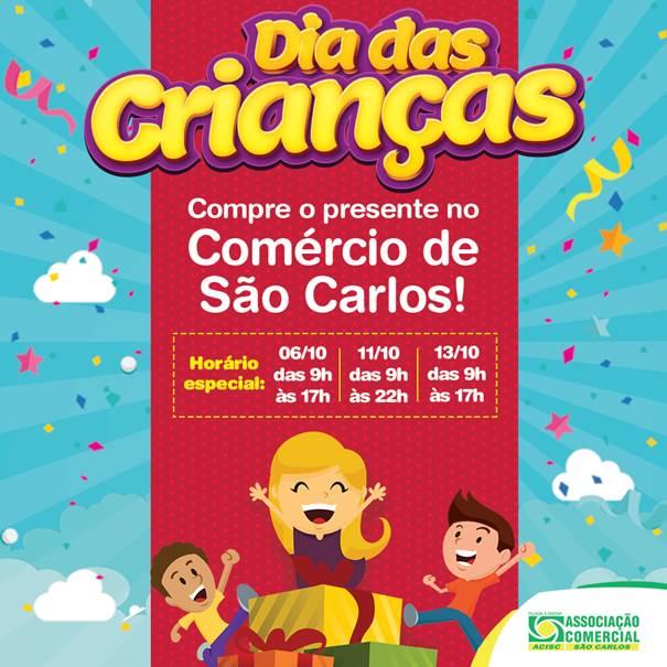 Acisc divulga horário especial do comércio para o Dia das Crianças -
