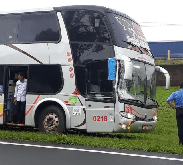 Ônibus se envolve em acidente na Washington Luis - Crédito: Grupo Rio Claro