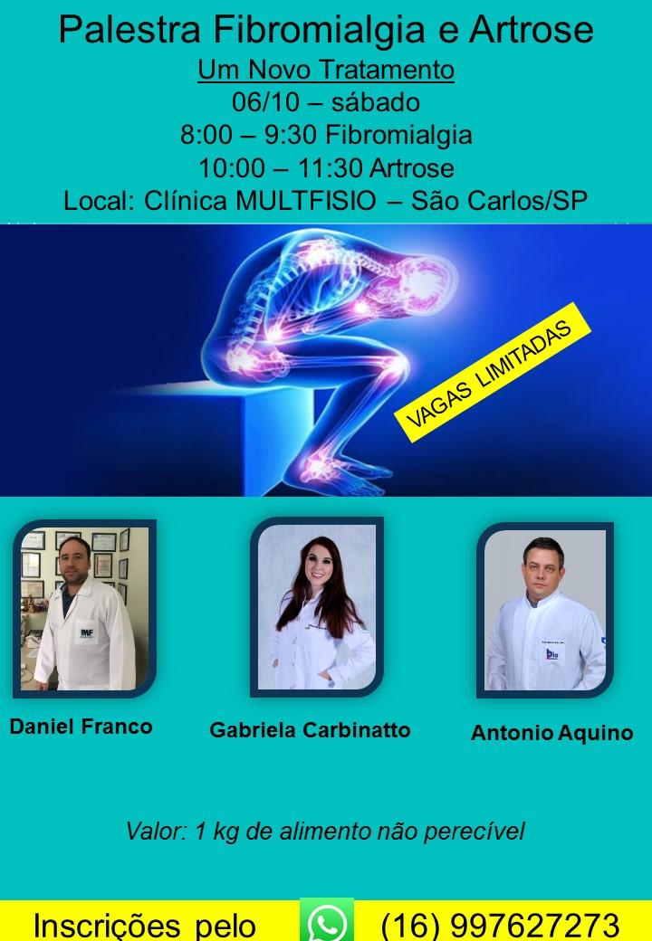 Fibromialgia e artrose serão debatidas em palestra -