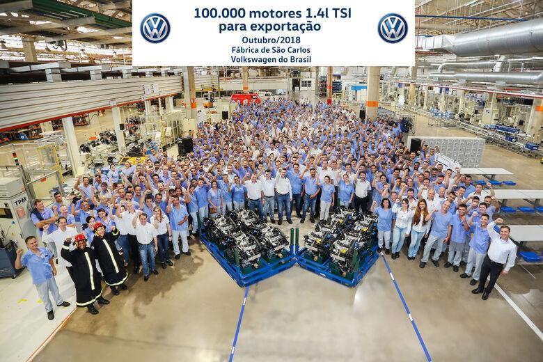 Fábrica da Volkswagen em São Carlos celebra a produção de 100 mil motores 1.4l TSI para exportação - Crédito: Divulgação