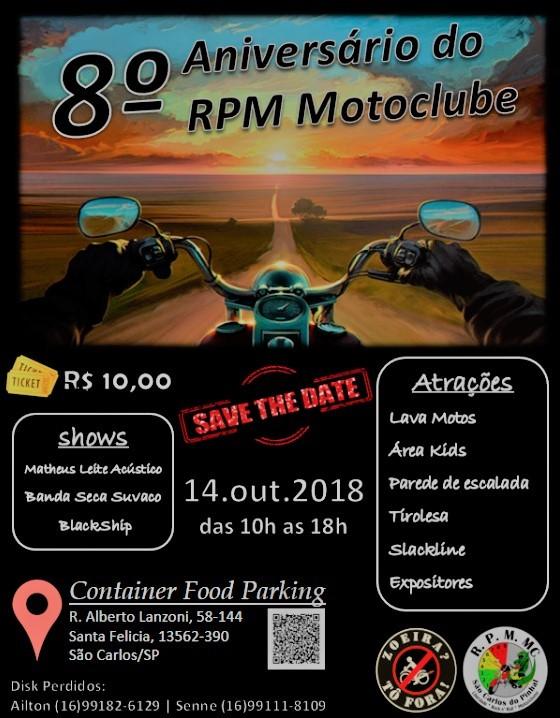 Próximo domingo terá evento do motoclube RPM -