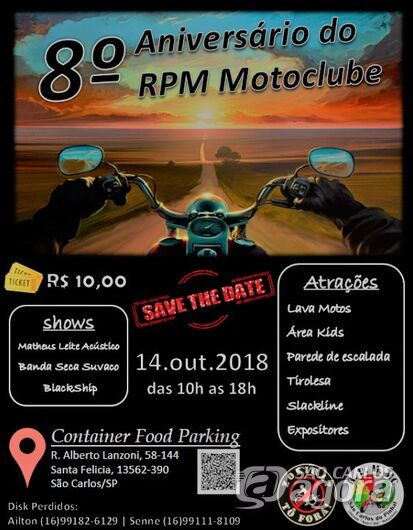 Próximo domingo terá evento do motoclube RPM -