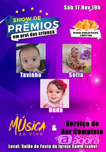 Tavinho, Sophia e Duda convidam população para um show de prêmios solidário -