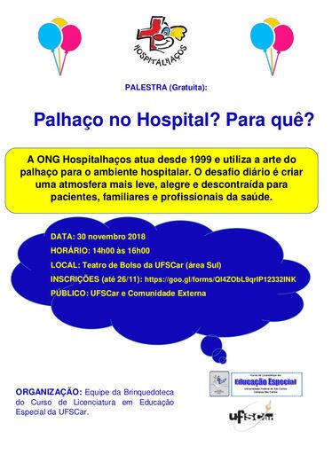 ONG Hospitalhaços realiza palestra gratuita na UFSCar nesta sexta-feira, 30 - Crédito: Divulgação