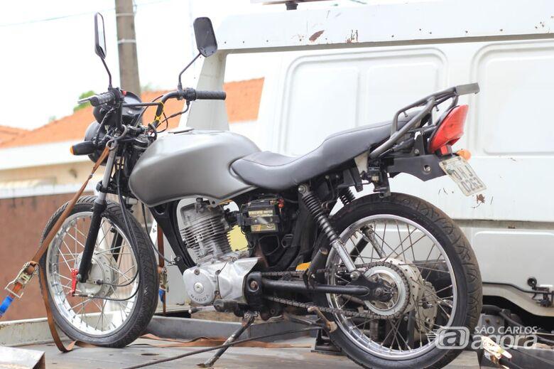 Moto adulterada e apreendida pela Polícia Militar - Crédito: Marco Lúcio