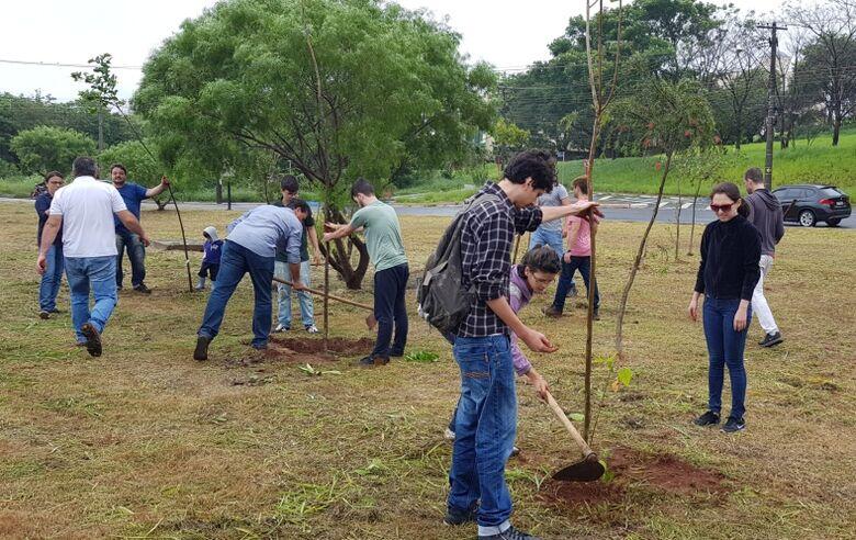 Árvores nativas são plantadas às margens do Monjolinho - Crédito: Divulgação
