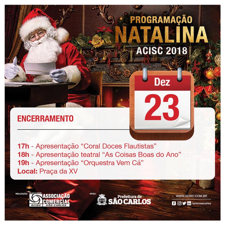 Acisc convida para encerramento da Programação Natalina na Praça da XV -