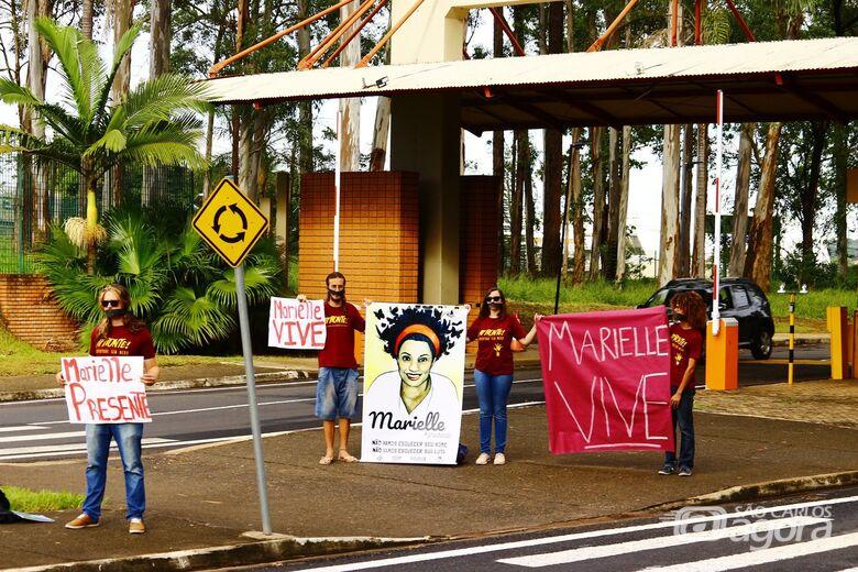 Ato de repúdio na UFSCar marca um ano do assassinato de Marielle Franco - Crédito: Divulgação