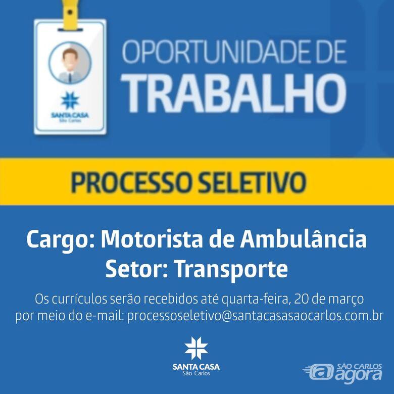 Santa Casa de São Carlos contrata motorista de ambulância -