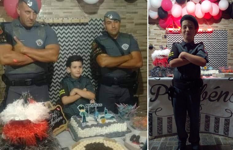 Força Tática faz a festa para o pequeno Nicolas no Monte Carlo - Crédito: Divulgação