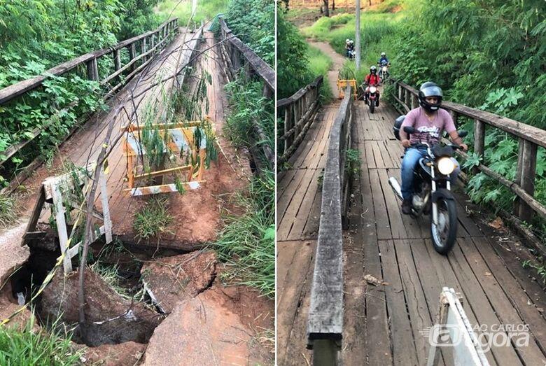 Ponte de madeira no Cidade Aracy deteriora e moradores reclamam de descaso - Crédito: Divulgação
