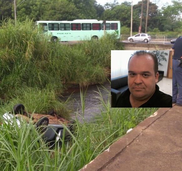 Homem morre após carro cair em córrego - Crédito: Araraquara 24 Horas