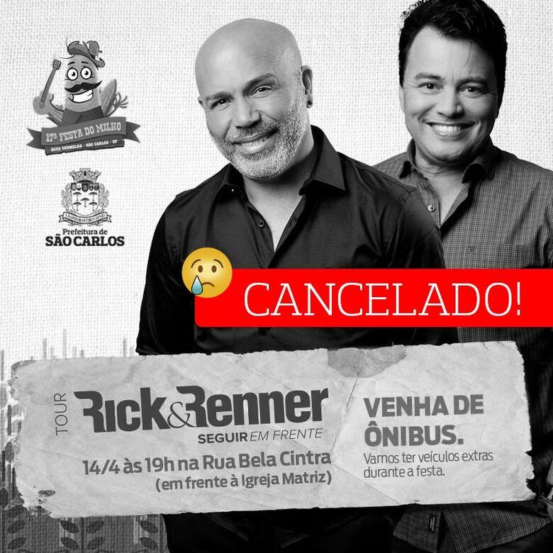 Cancelado show de Rick e Renner -