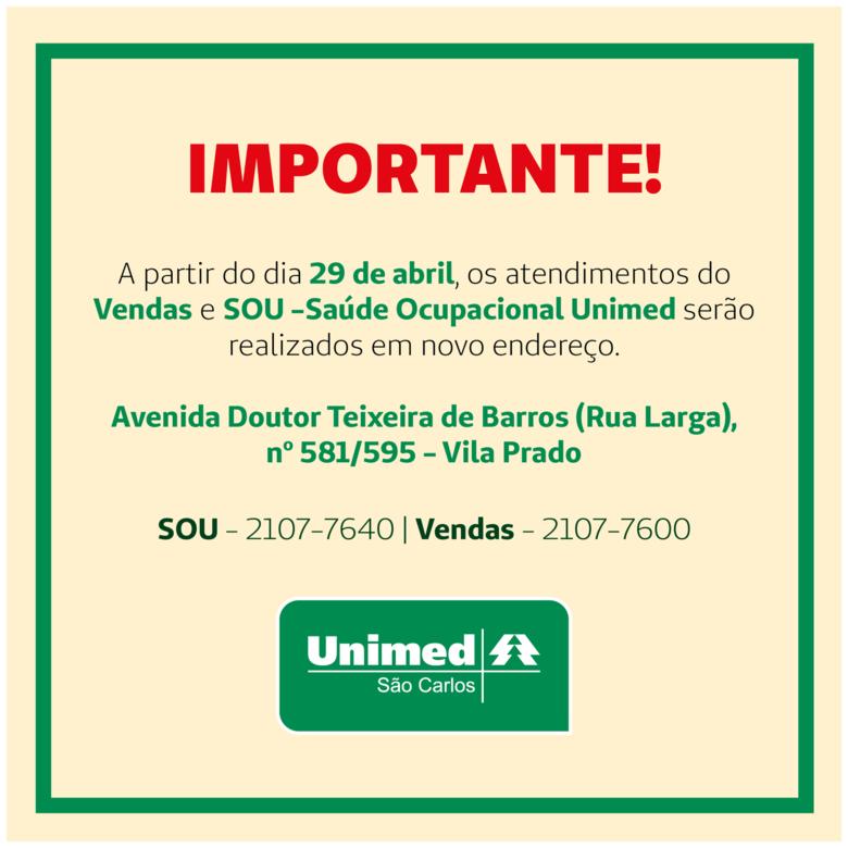 Atendimentos do SOU e Departamento de Vendas da Unimed São Carlos mudarão de endereço - Crédito: Divulgação