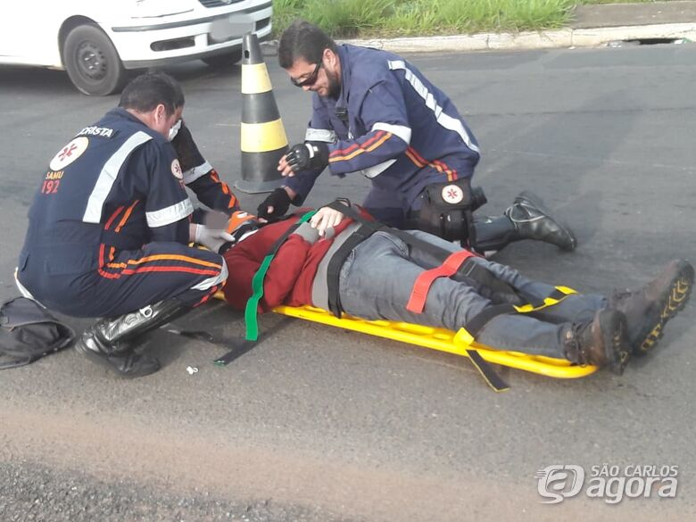 Manobra brusca causa acidente no Santa Felícia; motociclista fica ferido - Crédito: Maycon Maximino