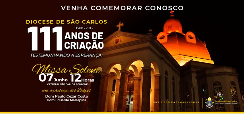 Santa Missa celebra 111 anos da Diocese de São Carlos - Crédito: Divulgação