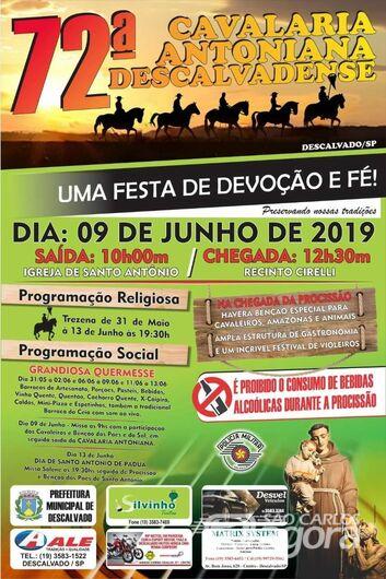 Tradicional Cavalgada Antoniana de Descalvado ocorre domingo -