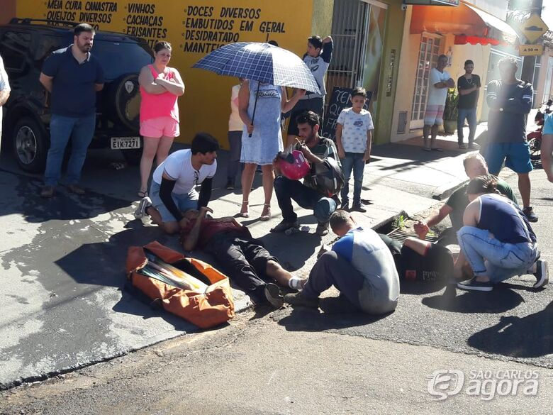 Motociclista provoca acidente e sofre fratura na tíbia - Crédito: Maycon Maximino