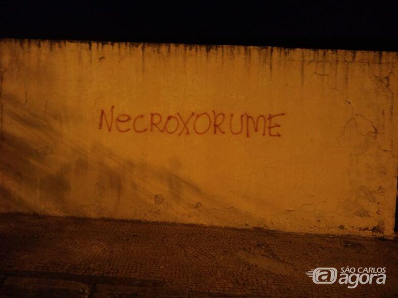 Jovem é detida após pichar muro do cemitério -