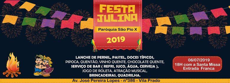Paróquia São Pio X e grupo de jovens Brasa realizam festa julina neste sábado (6) -