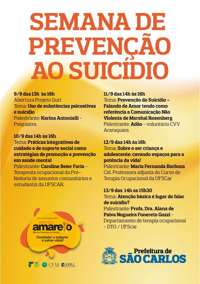 Semana de prevenção ao suicídio acontece de 9 a 13 de setembro -