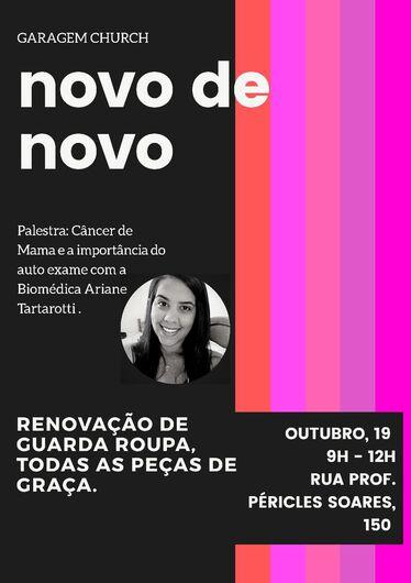 No Outubro Rosa, palestra irá abordar tema liga ao câncer de mama - Crédito: Divulgação
